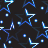Seamless pattern with blue neon stars Stock Photo