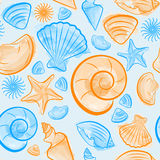 Seamless pattern with blue and orange seashells Stock Photo