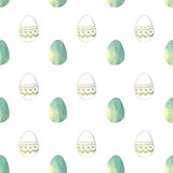 Seamless pattern with blue pearly Easter eggs on white background Royalty Free Stock Photography