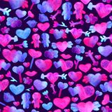 Seamless pattern with blue, pink watercolor hearts. arrow, lips, people romantic design. Isolated on violet background. Hand painted brush elements. Modern and Stock Photography