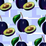 A seamless pattern from blue plum. Stock Photos
