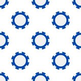 Blue Poker Chip Flat Icon Seamless Pattern. A seamless pattern with a blue poker chip flat icon, isolated on white background. Useful also as design element for royalty free illustration