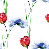 Seamless pattern with blue Poppies and Tulips flowers Royalty Free Stock Photo