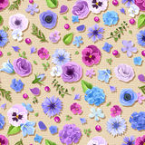 Seamless pattern with blue and purple flowers. Vector illustration. Royalty Free Stock Photography