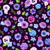 Seamless pattern with blue and purple flowers. Vector illustration. Stock Photography