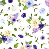 Seamless pattern with blue, purple and white roses, lisianthuses, anemones and lilac flowers. Vector illustration. Stock Photography