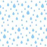 Seamless pattern blue rain drops on white, vector Stock Photo