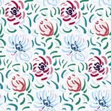 Abstract anemone pattern. Seamless pattern of blue and red anemone flowers in post-impressionism style royalty free illustration