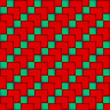 Seamless pattern of blue and red cubes. Volumetric Stock Illustration