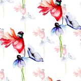 Seamless pattern with blue and red Poppy flowers. Watercolor painting Stock Photos