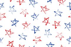 Seamless pattern with blue, red stars. Seamless pattern with the stars of the celebration of Independence Day and Memorial Day. Vector illustration Royalty Free Stock Photos