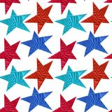 Seamless pattern with blue and red stars on a white background stock photos