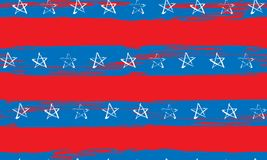 Seamless pattern of blue red white stars and stripes grunge. Seamless pattern of stars and stripes painted by hand in the US flag colors. American Independence Royalty Free Stock Photos