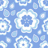 Seamless pattern blue with sakura blossom and leaves. Beautiful stylish seamless pattern blue with stylized white sakura blossom - japanese cherry tree and Stock Image