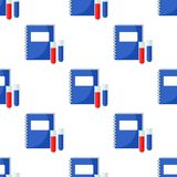 School Notebook Vials Seamless Pattern Stock Images