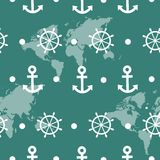 Seamless pattern of blue sea anchors and wheels Stock Photo