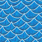 Seamless pattern blue sea wave Stock Photography