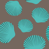 Seamless pattern of blue seashells. Seashell seamless pattern. Scallop vector background Stock Images