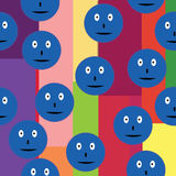 Seamless pattern with blue smileys over retro background Stock Photos