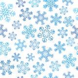Seamless pattern with blue snowflakes. On white Stock Photo