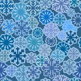 Seamless pattern with blue snowflakes, winter simple flat background. Vector wallpaper royalty free illustration