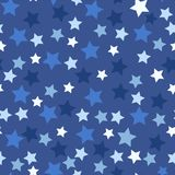 Seamless pattern with blue stars on dark. Night sky with stars, the space galaxy. Repeat texture background royalty free illustration