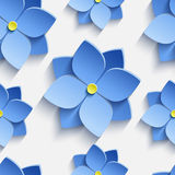 Seamless pattern with blue summer flowers violets. Beautiful trendy nature background seamless pattern with blue stylized summer 3d flowers violets. Floral Royalty Free Stock Photography
