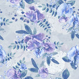 Seamless pattern with blue Sweet pea, Lathyrus odoratus, leaves. Royalty Free Stock Photo