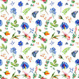 Seamless pattern with blue Sweet pea, Lathyrus odoratus, leaves. Stock Photo