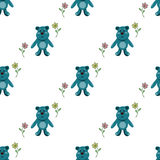Seamless pattern with blue teddy bears Royalty Free Stock Photography