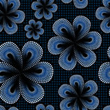 Seamless pattern with blue tiare flower. Dots, doted pattern. Monoi flower. Black background. Royalty Free Stock Photography