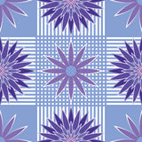 Seamless pattern blue and violet abstract flowers Stock Images