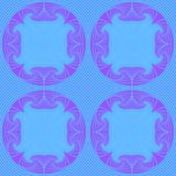 Seamless pattern in blue-violet tones of the rhythmically repeating lines and rounded petals. Seamless pattern featuring circles of spirally swirling purple Royalty Free Stock Image
