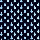 Seamless pattern of blue water drops on black. Rain design element vector illustration