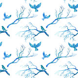 Seamless pattern with blue watercolor birds Royalty Free Stock Image