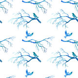 Seamless pattern with blue watercolor birds Royalty Free Stock Photo