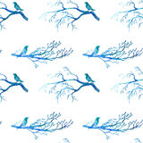 Seamless pattern with blue watercolor birds Royalty Free Stock Photography