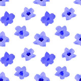 Seamless pattern with blue watercolor flowers. Blue watercolor flowers, seamless pattern Stock Image