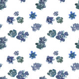 Seamless pattern with blue watercolor flowers Stock Image