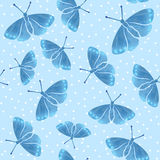 Seamless pattern with blue watercolor  hand drown  butterflies Royalty Free Stock Photos