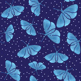 Seamless pattern with blue watercolor  hand drown  butterflies Royalty Free Stock Images