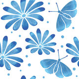 Seamless pattern with blue watercolor  hand drown  butterflies Royalty Free Stock Photography