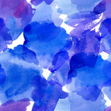 Seamless pattern with blue watercolor stains. Royalty Free Stock Image
