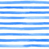 Seamless pattern with blue watercolor stripes. hand painted brush strokes, striped background. Vector illustration Royalty Free Stock Images