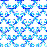 Seamless pattern. Blue waves watercolor ornament Royalty Free Stock Images