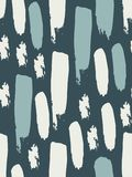 Seamless pattern in blue and white colors. Colorful spots and stripes. Abstract background. Ink and brush. Hand drawn. Vector illustration Stock Photography