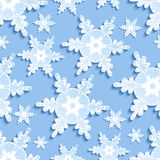 Seamless pattern with blue - white 3d snowflakes Royalty Free Stock Photo