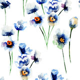 Seamless pattern with Blue wild flowers Stock Photo
