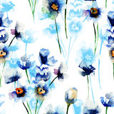 Seamless pattern with Blue wild flowers Royalty Free Stock Images