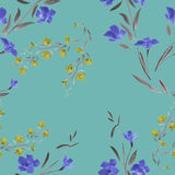 Seamless pattern blue yellow flowers on a turquoise background Stock Photos